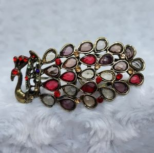 Jewelry - Antiqued Gold Jeweled Peacock Clamper Bracelet
